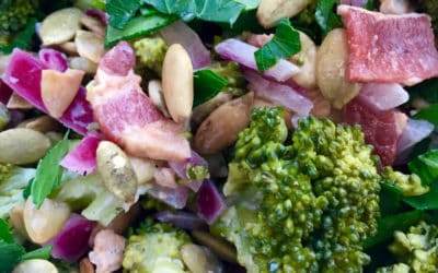 Mayo-Free Broccoli Bacon Salad with Toasted Pumpkin Seeds