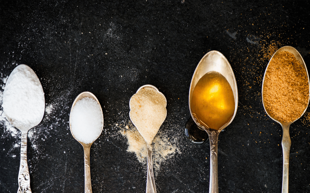 5 metal spoons-each with a different sweetener