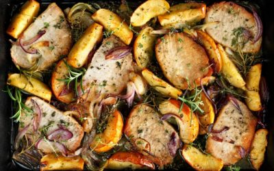 Sheet Pan Boneless Pork Chops with Peaches